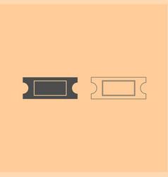 ticket dark grey set icon vector image