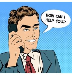 Businessman Speaking on the Phone Pop Art vector image vector image
