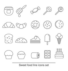 dessert and sweet icon set dessert and sweet icon vector image vector image