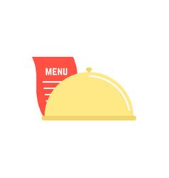 dish icon with menu sheet vector image vector image