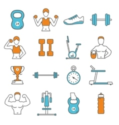 Fitness flat color line icons set vector
