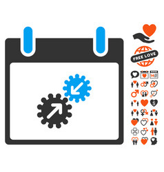 gears integration calendar day icon with dating vector image vector image