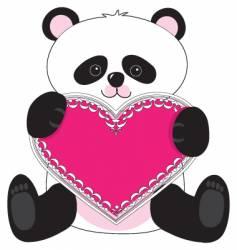 panda heart vector image