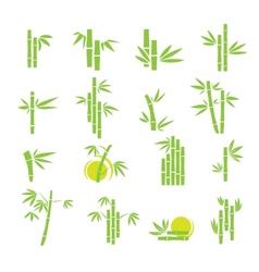 Bamboo symbol icons set vector image