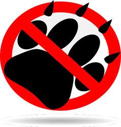 Ban foot print animal vector image vector image