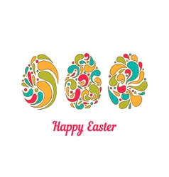 Greeting card with doodle full color easter eggs vector image vector image