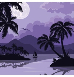 Tropical sea landscape with moon and palm vector image vector image