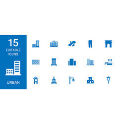15 urban icons vector