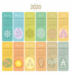 2020 calendar set vector image
