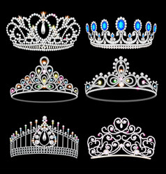 a fashion collection jewelry tiaras vector image