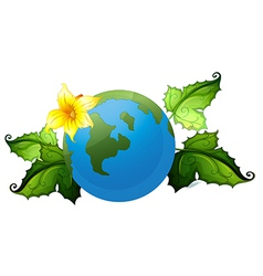 A globe with plants border vector image