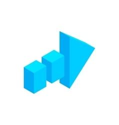 Arrow of broken line isometric 3d icon vector