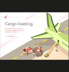 Banner cargo loading flight preparation vector