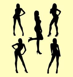 beautiful skinny woman gesture silhouette vector image