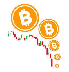 bitcoin deflation chart flat icon vector image