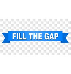 Blue ribbon with fill gap caption vector