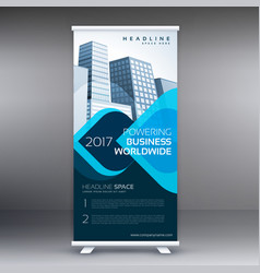 Blue roll up business flyer banner design vector