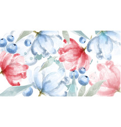 Blueberry and pink flowers watercolor banner frame vector