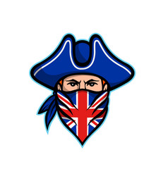 British highwayman wearing bandana mascot vector