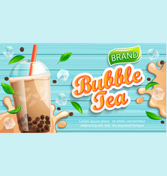 Bubble milk tea banner with delicious tapioca vector