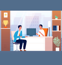 businessman interview male character in boss vector image