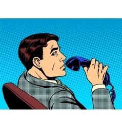 Businessman with phone vector image