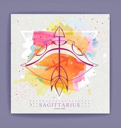 Card with astrology sagittarius zodiac sign vector