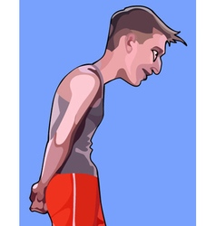Cartoon man in sports clothes ingratiating looking vector