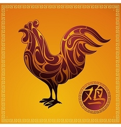 Chinese New Year 2017 Rooster horoscope symbol vector
