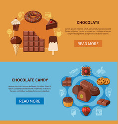 chocolate products flat banners vector image