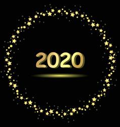christmas circle stars with greeting 2020 vector image