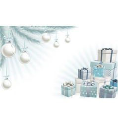 Christmas silver blue corner elements vector
