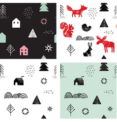 christmas winter seamless patterns set vector image