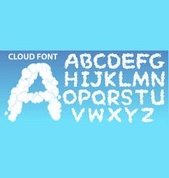 cloud english alphabet font vector image