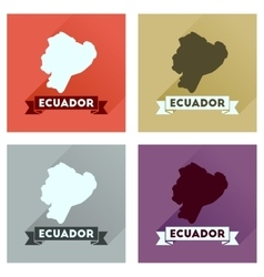 Concept of flat icons with long shadow Ecuador map vector