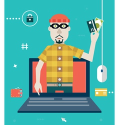 Concept online fraud hacking private account vector