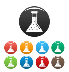 Conic chemical pot icons set color vector