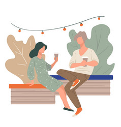 couple talking and drinking coffee in outdoor vector image