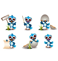 cute blue bird cartoon set vector image