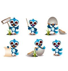 cute blue bird cartoon set vector image
