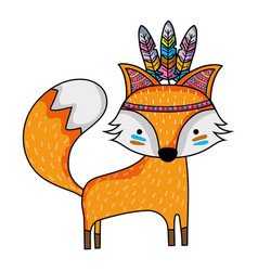 Cute fox animal with feathers design vector