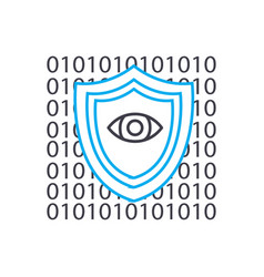 cyber insurance thin line stroke icon vector image