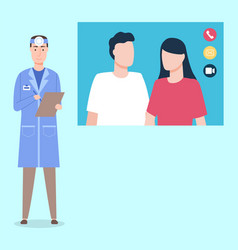 Doctor ent communicating with couple patients vector