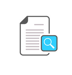 document file magnifier magnifying glass page icon vector image