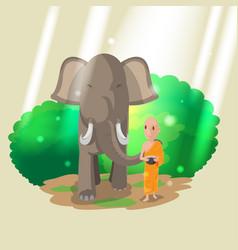 elephant animal monk walk culture vector image