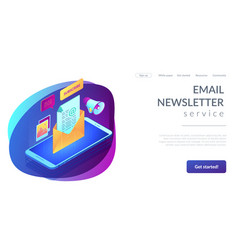 Email marketing isometric 3d landing page vector