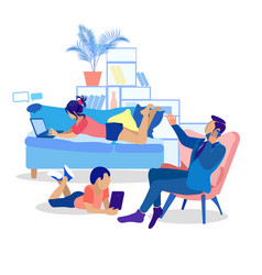 Family using modern gadgets flat vector