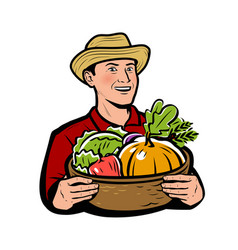 Farmer with vegetables natural food vector