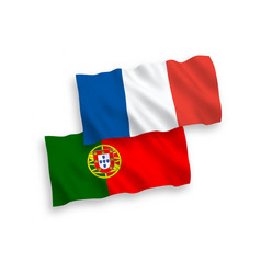 Flags france and portugal on a white background vector