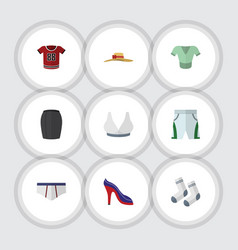 Flat icon dress set of trunks cloth casual vector